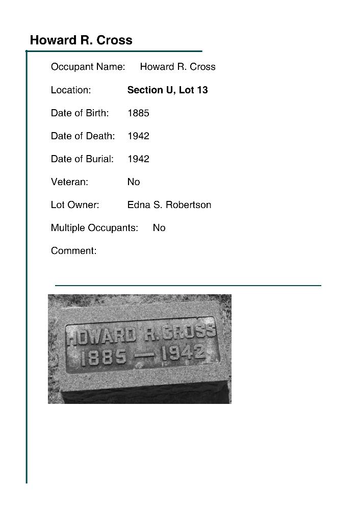 Howard R  Cross - Fairview Cemetery Brownstown